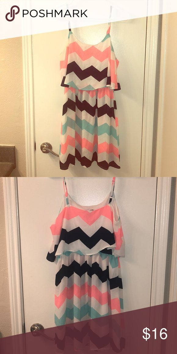 Rue 21 chevon sundress Worn once. No signs of wear. White, navy, teal and coral …