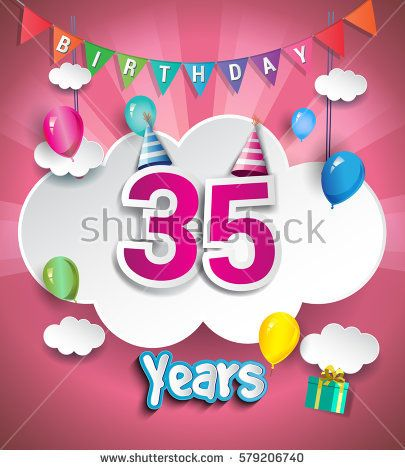 35th Anniversary Celebration Design, with clouds and balloons. using Paper Art Design Style, Vector template elements for your, thirty five years birthday celebration party.