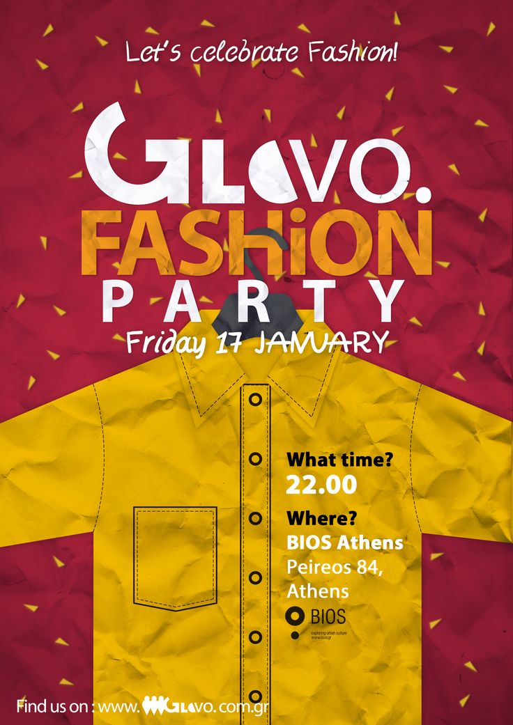 Second Poster created for GloVo's Fashion Party celebrating our two fashion events: Bridal Fashion Week & Eco Fashion Event held in Athens.
