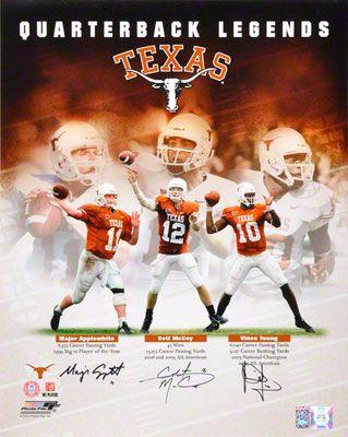 Vince Young, Colt McCoy, and Major Applewhite Autographed 16x20 Photograph | Details: Texas Longhorns