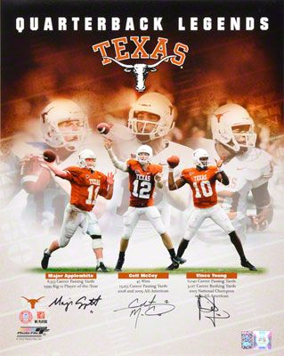 Vince Young, Colt McCoy, and Major Applewhite Autographed 16x20 Photograph | Details: Texas Longhorns