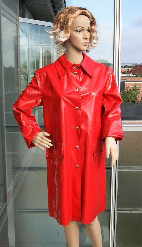Red Retro Vinyl Raincoat Rubber Latex Coat Pvc. Catsuit Impermàble Regenmantel #BormaxBrmax #Raincoat #Casual