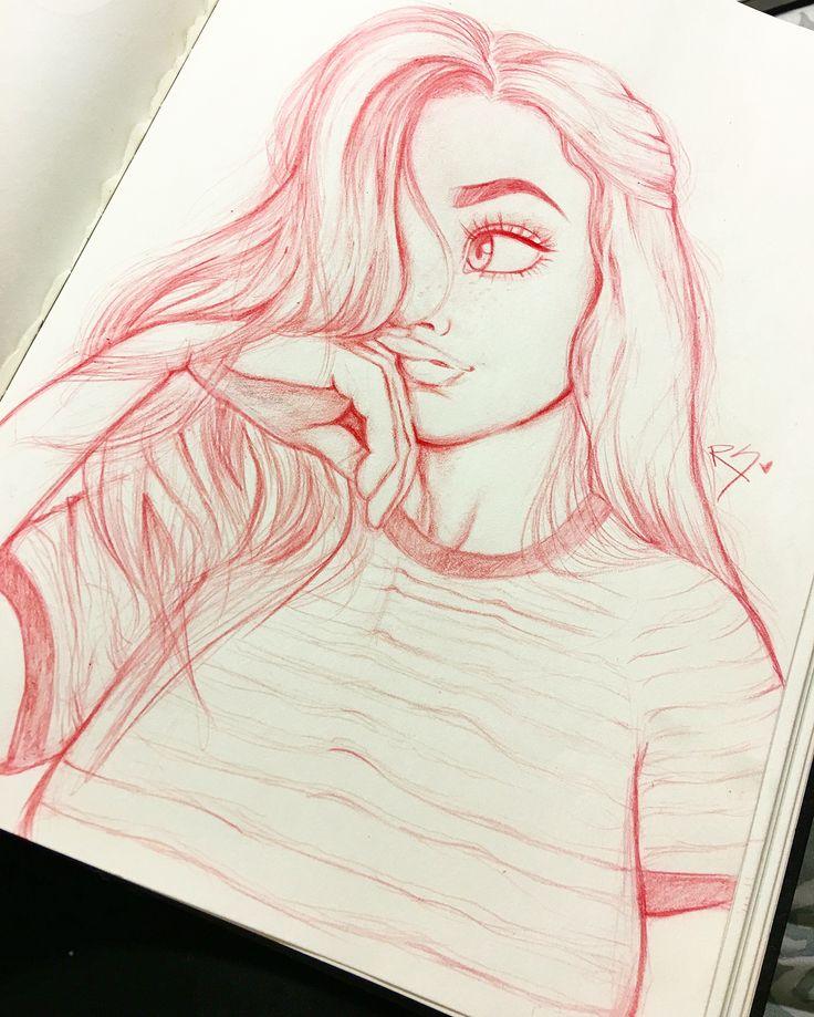 cute Pinterest  girl drawn by Christina Lorre