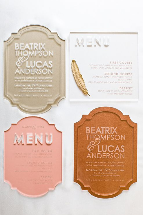 1149 best invitation design images on pinterest wedding stationery original pin caption custom modern lucite invitation laser etched in clear acrylic southern fried paper could work for a lucite menu card or table stopboris Gallery