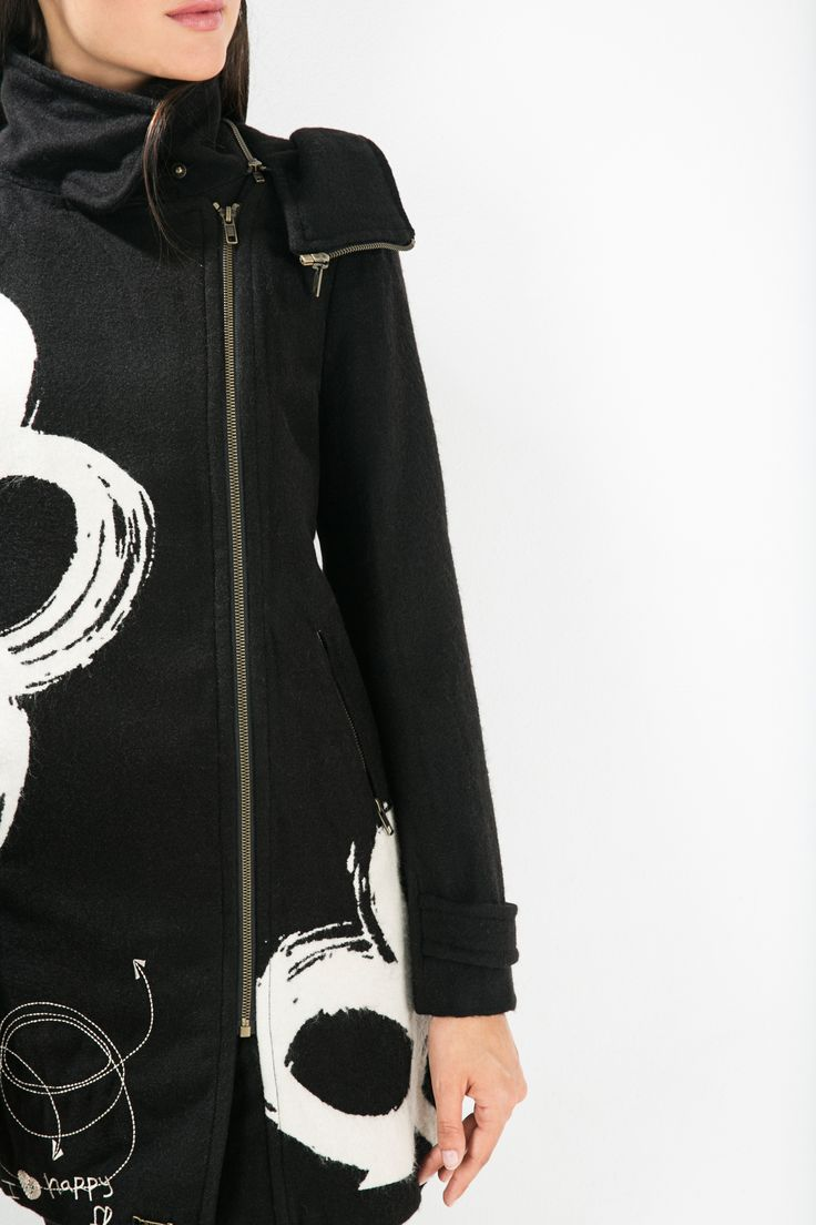 Keep comfy and warm in this stylish black coat! Our white daisies will give you a nice touch.