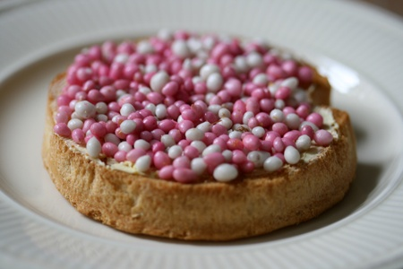 Typical Dutch Tradition  Beschuit met muisjes, (sugar coated aniseed) to celebrate the birth of a baby. Pink muisjes for a baby girl, blue for a boy
