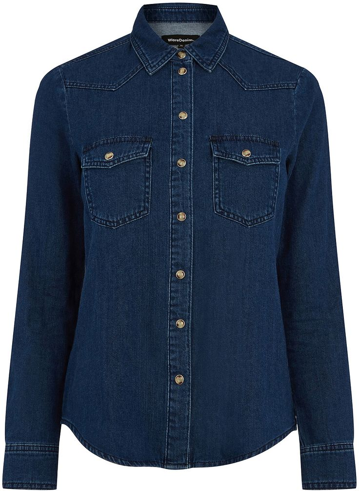 Womens air force blue denim top from Warehouse - £38 at ClothingByColour.com