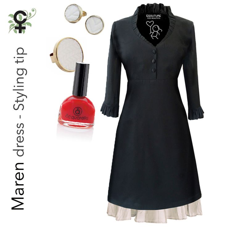 "Outfit of the day - The  black ""Maren"" dress and ""Silkskirt"". Matched with the dot porcelain jewelry & Aquarella water-based nail polish. Go to the webshop..."
