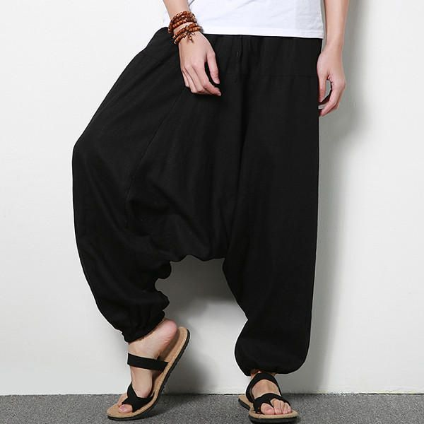 Men's Cotton Linen Harem Pants Casual Baggy Loose Trousers at Banggood