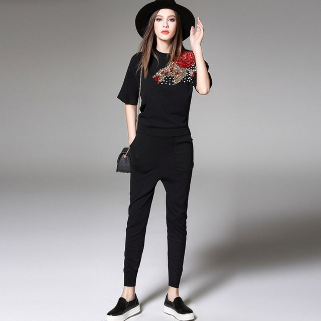 European Brand Fashion Summer 2 Piece Pants Set Women Casual Twinset Long Sleeve Sequined 3D Flowers Knit Sweater and Pants Set. US $69.98 To Buy Or See Another Product Click On This Link  http://goo.gl/yekAoR