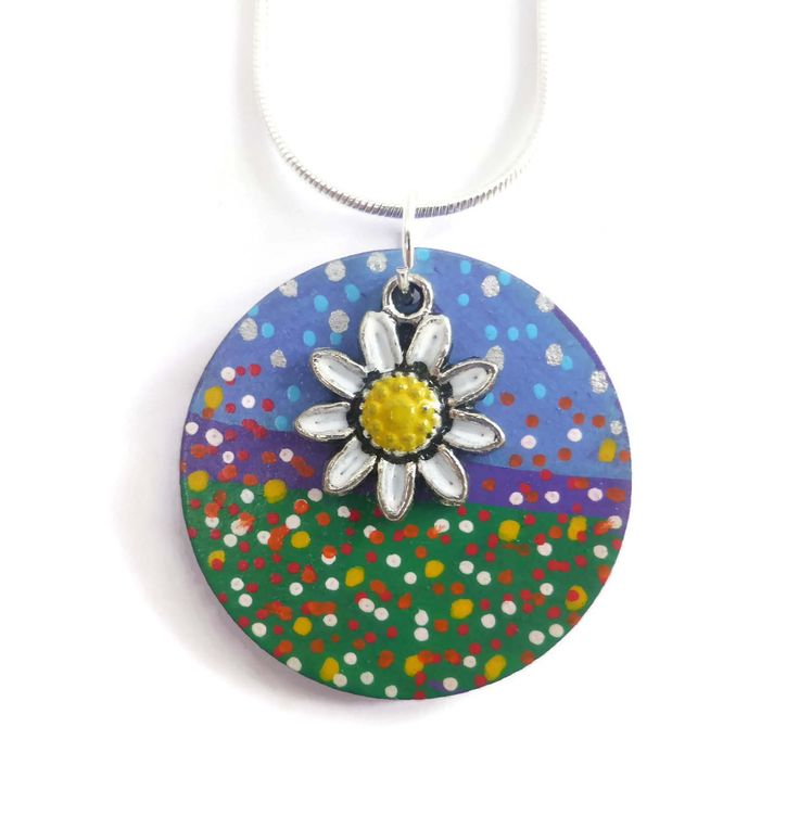 Daisy Necklace, Hand Painted Jewelry, Original Jewelry, Flower Pendant, Mothers Day Gift, Easter Jewellery Gift, Wood Jewellery, Art Jewelry by Larryware on Etsy