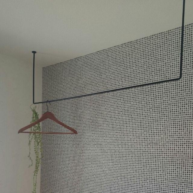 Naho_705さんの、室内干し,タイル壁紙,アイアン,物干し,バス/トイレ,のお部屋写真
