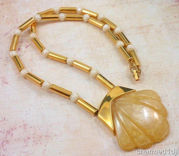 """Vintage NAPIER Large Lucite Clam Seashell Pendant Necklace Gold Plated 24""""L #Napier #Pendant#ad"""