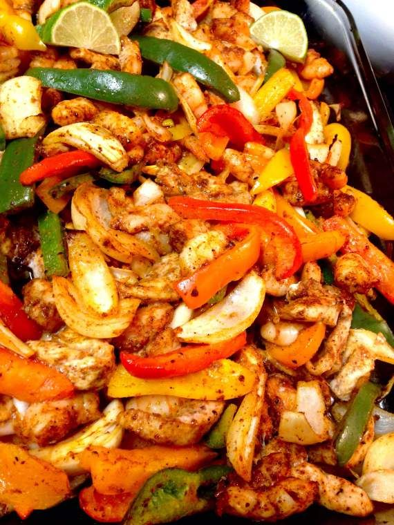 Shrimp and Chicken Fajitas (Paleo)