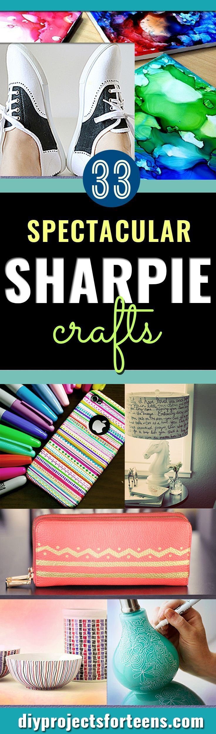 Cool Sharpie Crafts Ideas-  Cool DIY Ideas with Sharpies for Teens and Tweens - Mugs, Room Decor, Pillows, Shoes and More