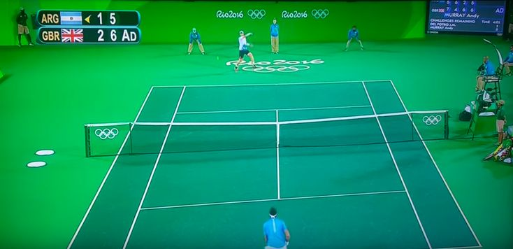 "Olympic tennis final played on ""giant green screen"". The internet noticed..."