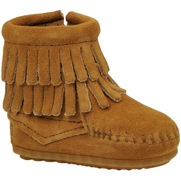 Minnetonka Double Fringe Side Zip  (Girls' Infant-Toddler) (3640 RSD) ❤ liked on Polyvore featuring shoes, boots, taupe, side zip boots, leather...