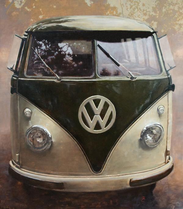 57 PG/SG Microbus, 48x55, Oil on Panel, Santiago Michalek, VW painting, Volkswagen painting, bus painting, oil painting