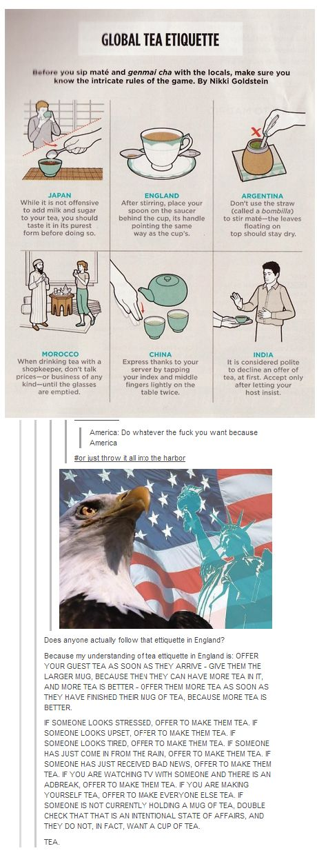 """""""Don't know what's funnier, The """"#Orjustthrowitintotheherbor"""" or England"""" Love tea. I cannot express how true this is x3"""