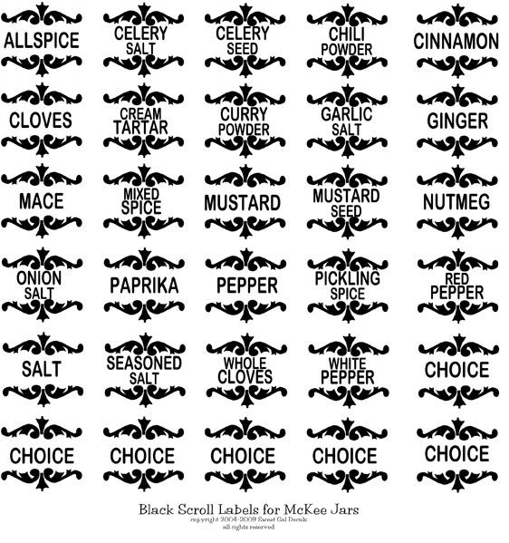 Printable Black Round Spice Labels Sweet Gal Decals
