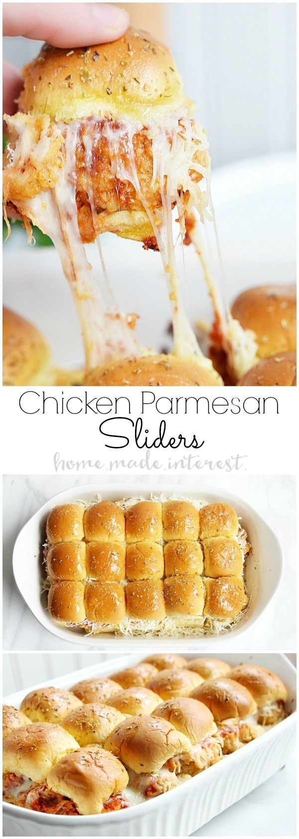 These Chicken Parmesan Sliders are an easy recipe made with fried chicken tenders, tomato sauce, and lots of cheese.