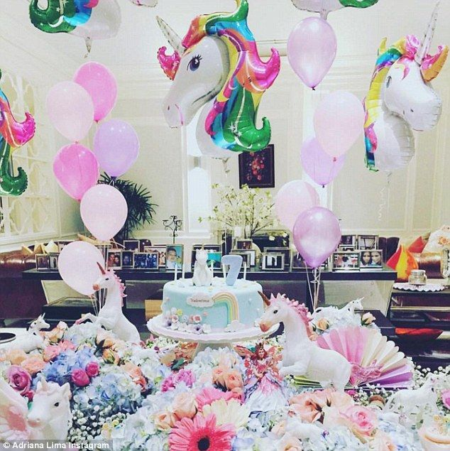 Unicorns galore: Adriana Lima took to Instagram to share a spectacular picture of her daughter Valentina's 7th birthday