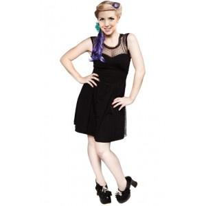 Vestido negro de algodón elástico sin mangas con corpiño ajustado y con vuelo. Por fuera es transparente y el forro de raso elástico
