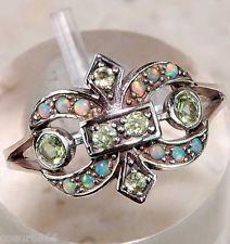 1c Bague Art Déco Fleur de Lys Naturel Péridot & Opale  • Argent Massif 925 # 52