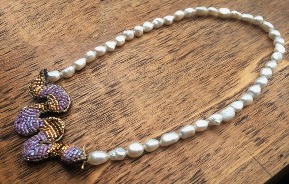 Barroque white pearl with handmade snake clasp. by BijouxaLaCarte, $40.00