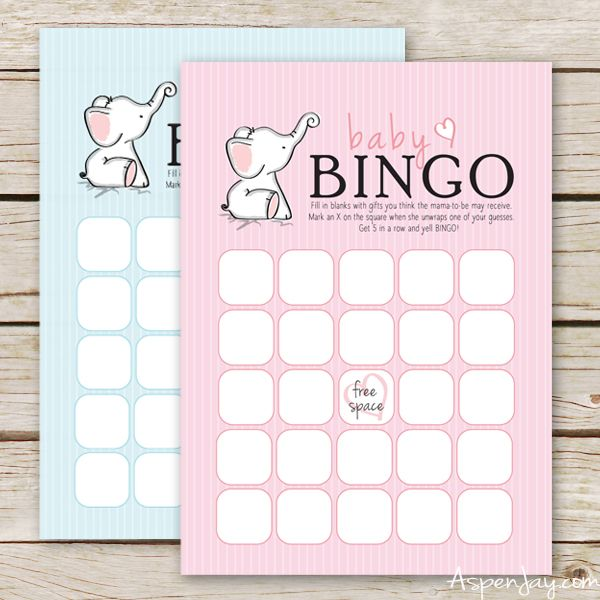 Super Cute Elephant themed Free Baby Bingo Cards to print for the next baby shower you throw! The baby bingo cards come in both blue and pink.