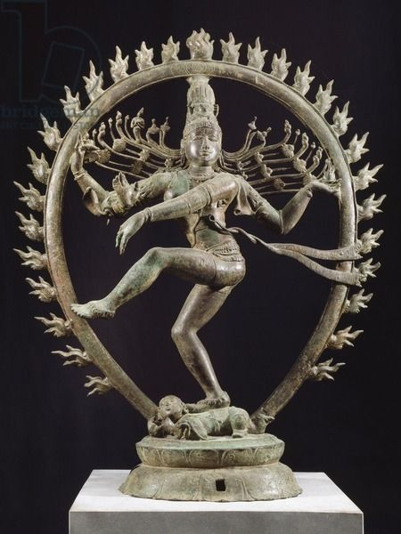 Shiva as Nataraja dancing in a circle of flames, bronze statue in Dravidian style, India. Detail. Indian Civilization, Cola dynasty, 11th century.
