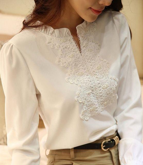 Good Quality Spring Autumn White Blouse Chiffon Shirt Women Lace Crochet Pearl Beading Long Sleeve Tops Plus Size S-XXL T5528