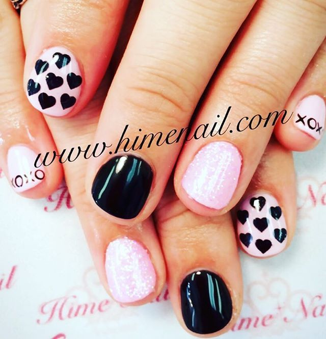 www.himenail.com call for an appointment 714-544-2364 Nails by Chihiro #Gel #Gelnails #Pinknails #Blacknails #Glitternails #Nailart #Heartnails #Confettinails #Valentinesnails #Xoxo #Manicure #Himenail #ジェルネイル #ジェル #ネイルアート #ピンクネイル #コンフェティネイル #ハートネイル #バレンタインネイル #黒ネイル #姫ネイル #マニキュア