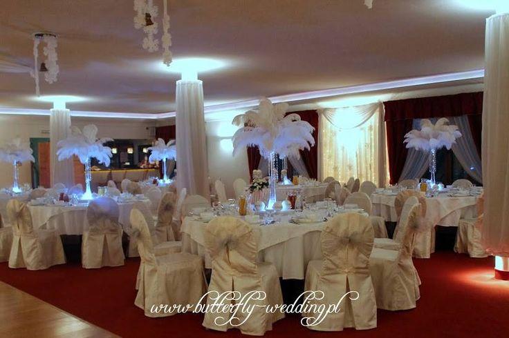 strusie pióra - dekoracja weselna