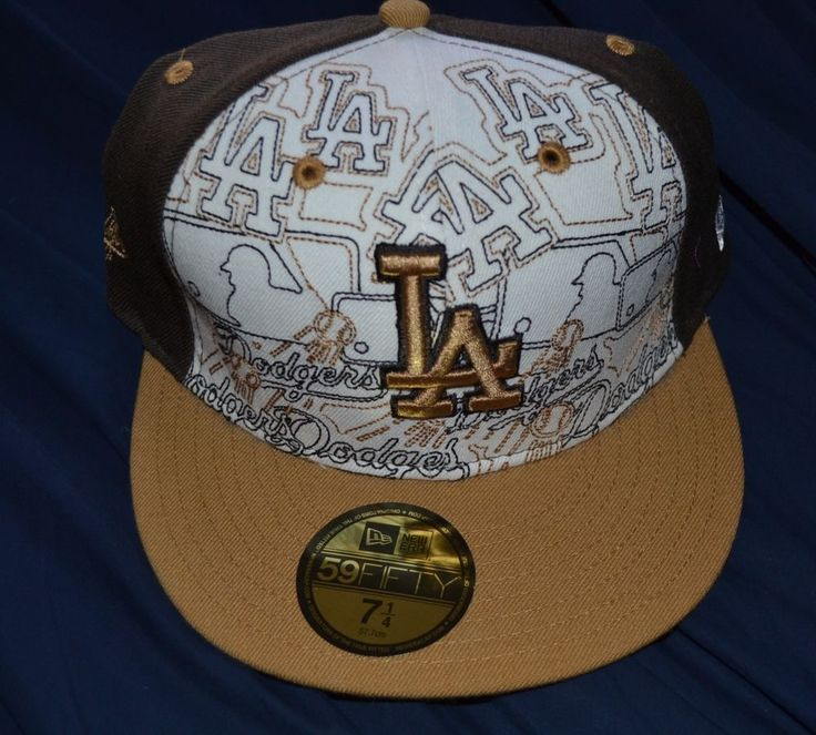 NEW ERA 59FIFTY Los Angeles Dodgers Brown White Fitted MLB  Baseball Cap 7 1/4 #NewEra #BaseballCap #LosAngelesDodgers
