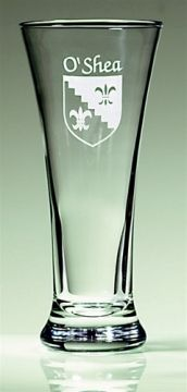 Personalized Irish Coat of Arms Pilsner Glasses - Set of 4. Everyone has a slightly different idea of what a glass of beer should look like. We wanted to make sure no one was left out. If this is your idea, the tall, cool, smoothly curving Pilsner, then by all means put your sand-etched family name and Irish coat-of-arms on it, and leave the stouter Pubs and Pints looking up at you. 11.5 oz., permanently sand-etched image and dishwasher safe. Choose from over 900 available family coat of…