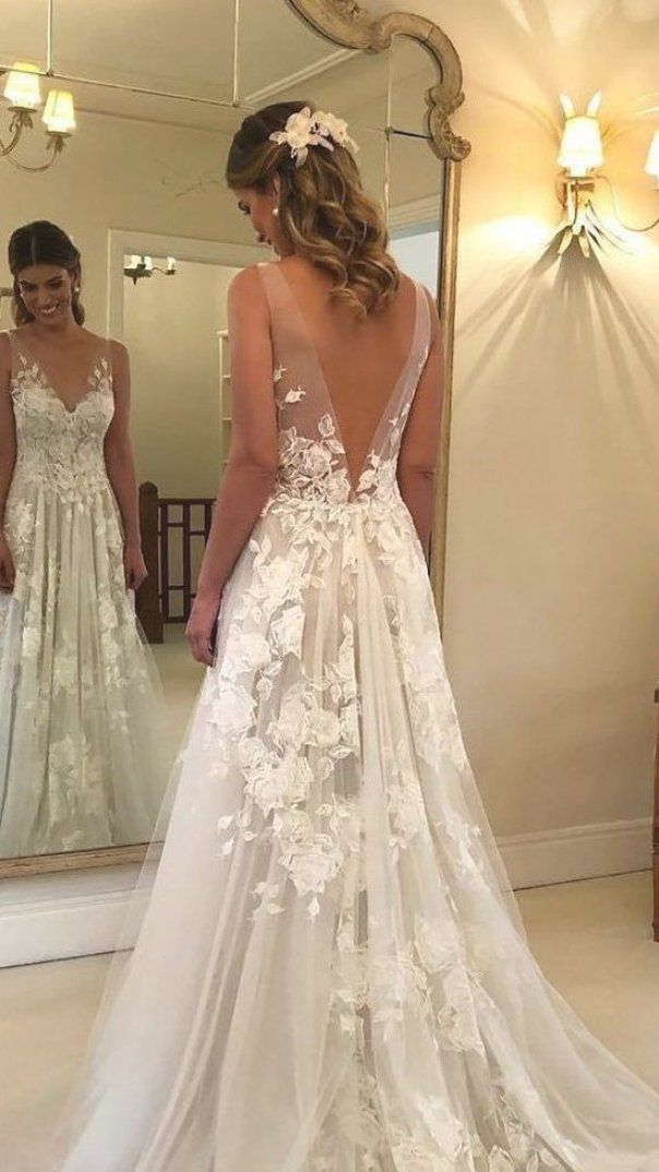 2020 2021 A Line Wedding Dresses Collections Overview From Top Wedding Dress Designers Wedding Ideas In 2020 Backless Wedding Dress Backless Wedding Wedding Dresses