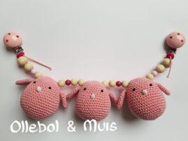 Wagenspanner vogeltjes roze