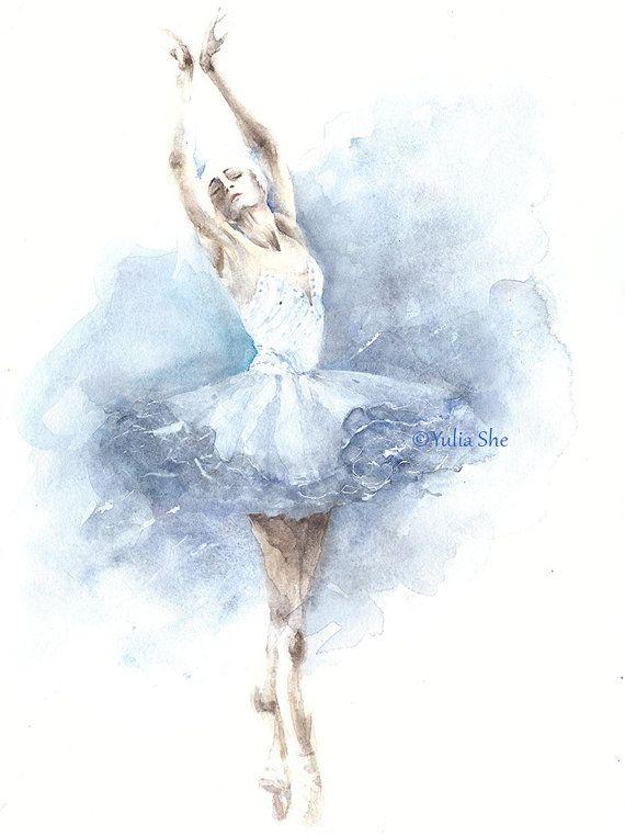 """Original watercolor painting ballerina dancing ballet girls room decor 9x12"""""""