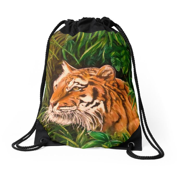 Drawstring Bag,  tiger,animal,green,jungle,cool,beautiful,fancy,unique,trendy,artistic,awesome,fahionable,unusual,accessories,for,sale,design,items,products,gifts,presents,ideas,redbubble