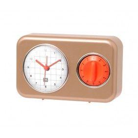 Clock With Kitchen Timer Nostalgia