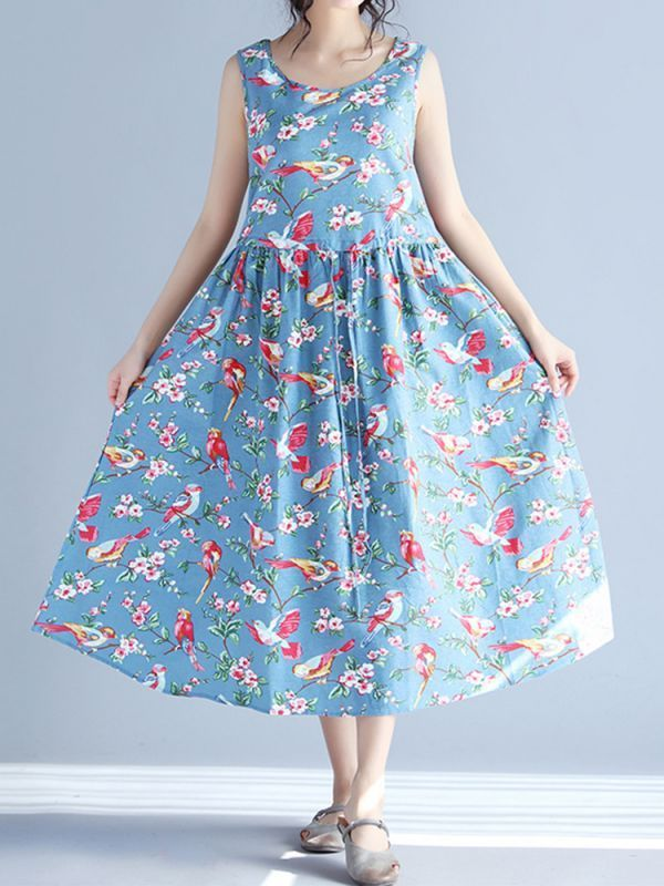 Casual Women Floral Printed Sleeveless High Waist Swing Dresses Floral Dresses Next Day D Women Dresses Classy Spring Dresses Women Floral Dresses With Sleeves