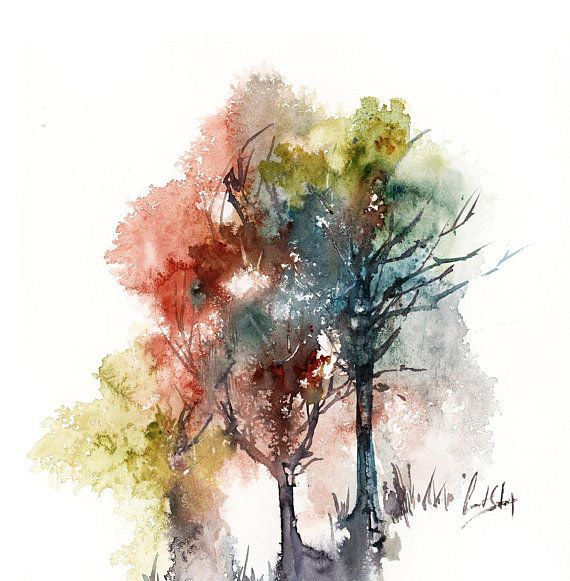 Trees Abstract Realism Original Watercolor Painting Modern