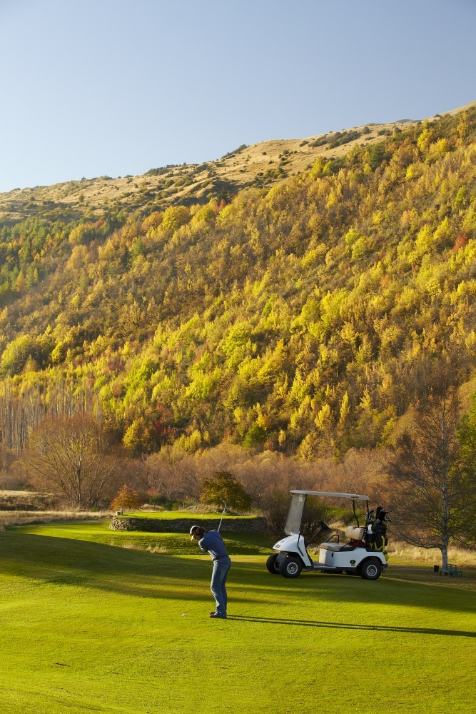 Golf at the Arrowtown Golf Club in Autumn.
