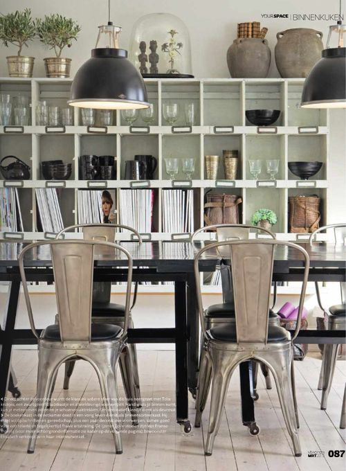 Design Chic - a bookcase in the dining room...genius!