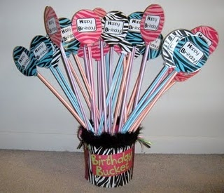 zebra themed pixie stick birthday bucket