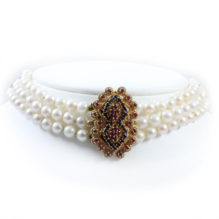 14k Yellow Gold, 6mm Pearl, Sapphire and Ruby Three-Strand Choker Necklace - The Estate Watch and Jewelry CoThe Estate Watch and Jewelry Co