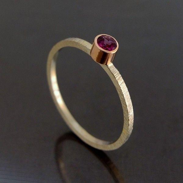 bizoe pierścionek złoty rodolit 2,5 mm