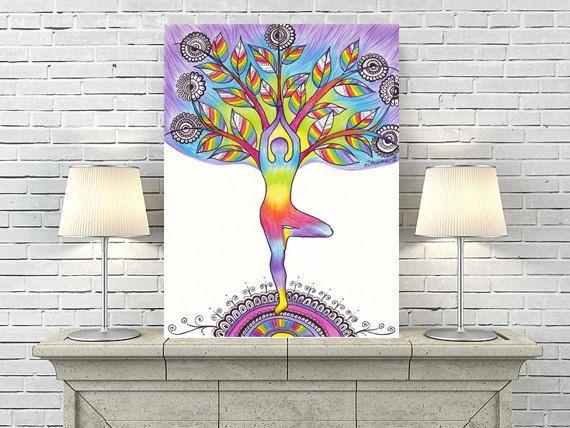 Yoga Wall Decor PRINT, Tree Pose Vrikasana, Yoga Silhouette , Yoga Poster, Rainbow Colors Spiritual Vibrant Energy Art,  Meditation Art by DHANAdesign on Etsy