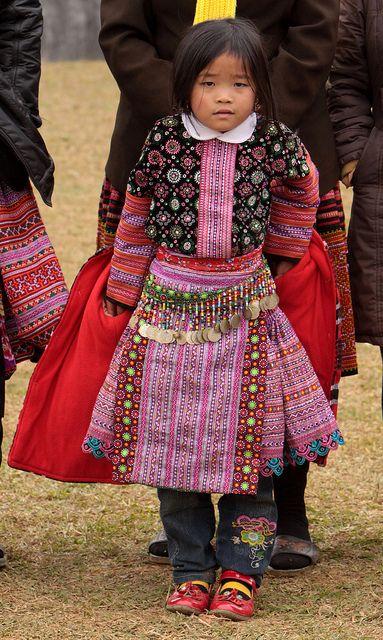 Vietnam - ethnic minorities.     Red Hmong girl in traditional dress.